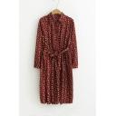 Basic Lapel Collar Long Sleeve Buttons Down Tie Waist Floral Print Chiffon Dress