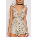 New Fashion Floral Print Plunge Neck Sleeveless Open Back Ruffle Trim Rompers
