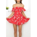 New Arrival Floral Print Off the Shoulder Ruffle Hem Rompers Shorts