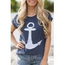 Oversize Round Neck Short Sleeve Printed Summer's Beach Cotton Graphic Tee