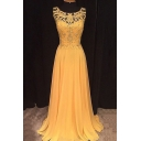 New Fashion Women's Round Neck Sleeveless Lace Patched Studded A-Line Maxi Dress