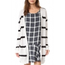 Women's Basic Striped Print Long Sleeve Collarless Open Front Knit Cardigan