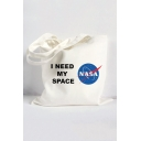 I NEED MY SPACE Letter NASA Logo Printed Shoulder Bag