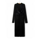 New Arrival Stand-Up Collar Long Sleeve Wrap Sash Front Plain Velvet Midi Dress