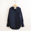 New Fashion Metal Ring Back Lapel Collar Long Sleeve Buttons Down High Low Hem Shirt