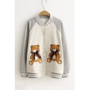 Lovely Bow Bear Patched Contrast Collar Long Sleeve Single Breasted Baseball Jacket