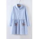 Lapel Collar Long Sleeve Striped Print Buttons Down Shirt Dress with Cartoon Pockets