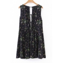 New Fashion Lace-Up V Neck Sleeveless Floral Print Open Back Pleated Dress