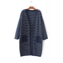Striped Color Block Open Front Long Sleeve Tunic Cardigan with Two Pockets