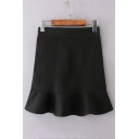 Fashion High Waist Ruffle Hem Plain Mini Bodycon Skirt