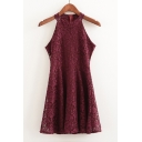 Elegant Lace Crochet Sleeveless Round Neck Zip-Back Plain Mini A-Line Dress
