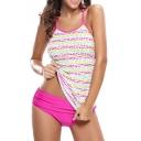 Women's Polka Dots Color Block Cami Racerback Tankinis Swimwear