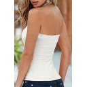 Sexy Halter Open Back Sleeveless Plain Tank Top
