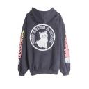 Fashion Hip Hop Street Style Fire Cat Letter Back Printed Long Sleeve Boyfriend Hoodie