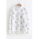 New Fashion Cute Deer Pattern Lapel Collar Long Sleeve Buttons Down Dipped Hem Shirt