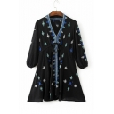 Women's V-Neck 3/4 Sleeve Embroidery Tie Front A-Line Mini Dress