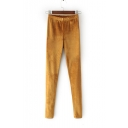 New Arrival Elastic Mid Waist Plain Skinny Velvet Pencil Pants
