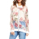 Women's Fashion Lapel Collar Zip Placket Sheer Floral Patched Chiffon Coat