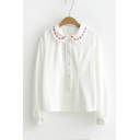 New Arrival Girls' Floral Trim Patched Peter-Pan Collar Long Sleeve Shirt