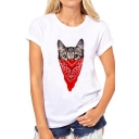 New Fashion Cartoon Cat Print Round Neck Short Sleeve Basic Slim Tee