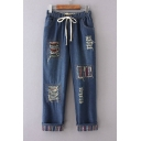 Elastic Drawstring Waist Color Block Ripped Patched Denim Tapered Pants
