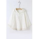 Embroidery Floral Lace Patchwork Hooded Plain Batwing Sleeve Cape