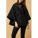2017 New Fashion Hooded Zip Placket Basic Casual Loose Cape Coat