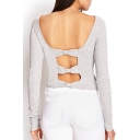 Sexy Cutout Bow Back Round Neck Long Sleeve Plain Cropped Sweater