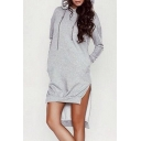 Women's Drawstring Hooded High Low Hem Long Sleeve Plain Hoodie Sweatshirt Dress