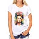 Fashion Character Oil Painting Printed Short Sleeve Round Neck Tee