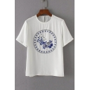 Summer Round Neck Short Sleeve Porcelain Embroidery Casual T-Shirt