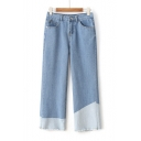 New Fashion Mid Rise Color Block Raw Edge Wide Leg Denim Capris Pants