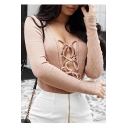 New Sexy Lace-Up Front Hollow Out Long Sleeve Slim Knit Plain Bodysuit