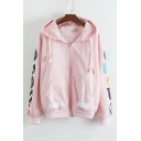 Cartoon Printed Hooded Zip Placket Striped Back Coat with Slanting Pockets