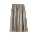 Elastic Waist Plain Midi A-Line Pleated Skirt