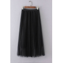 Elastic Waist Mesh Patchwork Plain Maxi Pleated Skirt