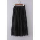 Elastic Waist Mesh Patchwork Plain Maxi Pleated Skirt