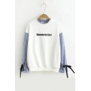 Sweet Letter Embroidered Fake Two-Piece Round Neck Long Sleeve Ribbons Cuff Sweatshirt