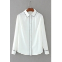 Lapel Collar Long Sleeve Color Block Buttons Down Chiffon Shirt