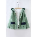 Embroidery Coconut Tree Hooded Single Breasted Color Block Coat