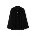 Single Breasted Lapel Long Sleeve Plain Velvet Button Down Shirt
