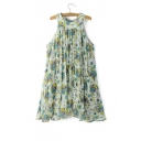 Loose Round Neck Sleeveless Floral Printed Midi Swing Dress