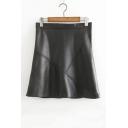 High Waist Plain Zip Back Leather Fashion A-Line Mini Skirt