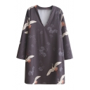 Crane Printed V-Neck Long Sleeve Mini Shift Dress