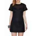 Women's Round Neck Short Sleeve Basic Black A-Line Mini Dress