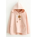 New Arrival Hooded Long Sleeve Bear Embroidery Dipped Hem Hoodie with Double Pockets