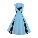 Retro Stylish Scoop Neck Sleeveless Polka Dots Midi Swing Dress with Button Embellished