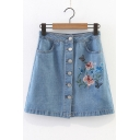 Embroidery Butterfly Floral Pattern Single Breasted Mini A-Line Denim Skirt