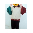 Simple Color Block Lantern Long Sleeve Round Neck Pullover Sweater