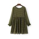 Women's Round Neck Long Sleeve Polka Dot Print Mini Smock Dress